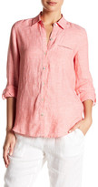 Foxcroft Collared Solid Long Sleeve Linen Shirt