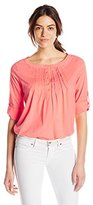 Caribbean Joe Women's Plus Size Mixed Print Slub Jersey with Inset Uneven Hem T-Shirt