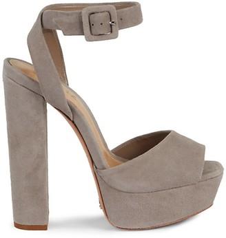 Schutz Rafe Suede Ankle-Strap Platform Sandals