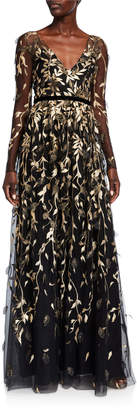 Marchesa V-Neck Long-Sleeve Metallic Embroidered Gown w/ 3D Leaflets