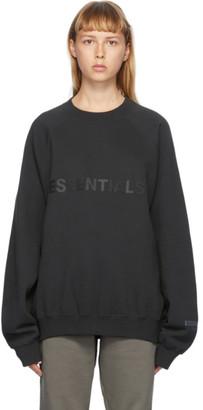 Essentials Black Logo Crewneck Sweatshirt