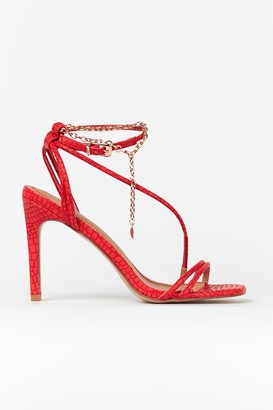 Wallis Red Ankle Chain Strap Heel