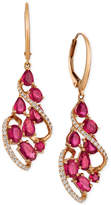 LeVian Le Vian Certified Passion Ruby (3-1/3 ct. t.w.) & Diamond (1/3 ct. t.w.) Drop Earrings in 14k Rose Gold