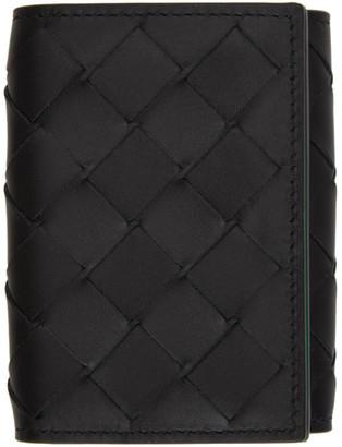 Bottega Veneta Black and Green Intrecciato Trifold Wallet
