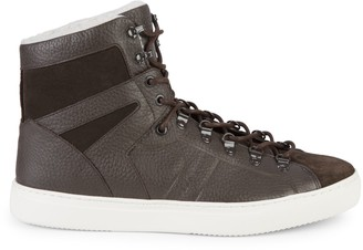 HUGO BOSS Enlight Faux Fur-Lined Leather High-Top Sneakers