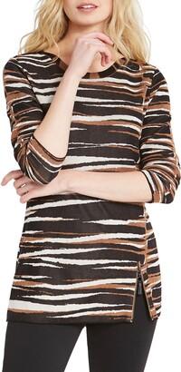 Nic+Zoe Mighty Zip Tiger Stripe Cotton Blend Sweater
