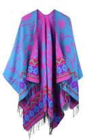 JURUAA Womens Oversized Fleece Capes Wrap Warm Knitted Cape Cardigan Ruana Shawls Capes DodgerBlue/Fuchsia