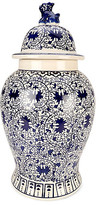 One Kings Lane Foo Dog Temple Jar - Blue/White