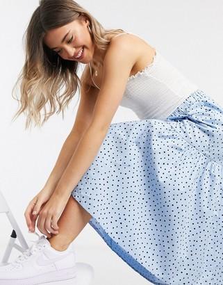 Monki Mandy dot print midi skirt in blue