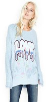 Lauren Moshi Dripping Love Fortune Sweater with Fringe in Vintage Blue