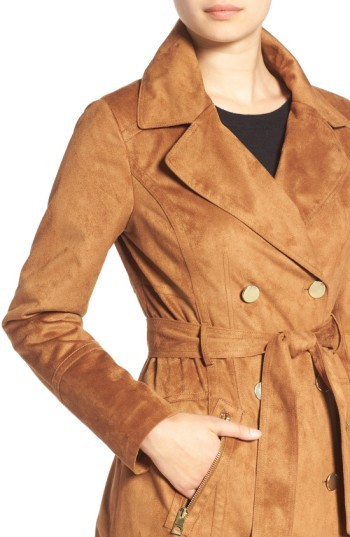 GUESS Women's Faux Suede Double Breasted Trench Coat