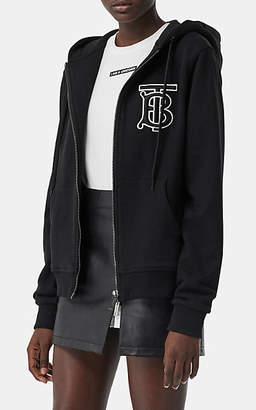 Burberry Women's TB Cotton Zip-Front Hoodie - Black