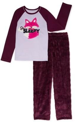 Wonder Nation Girls 2-Piece Pajama Set, Sizes 4-18 & Plus