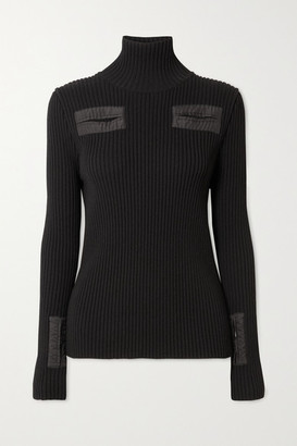 Bottega Veneta Cutout Shell-trimmed Ribbed Wool-blend Turtleneck Sweater - Black