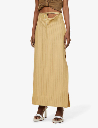Jacquemus La Jupe Terraio pinstripe high-waist hemp and wool-blend midi skirt