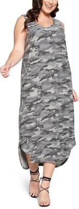 Curvyture Camo Print Sleeveless Dress