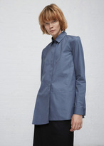 Jil Sander blue diana covered placket button down