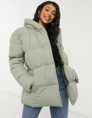 Threadbare stanley belted puffer coat with hood