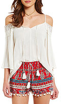 Band of Gypsies Cold Shoulder Crochet Blouse