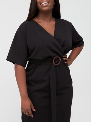 V By Very Curve Jersey Wrap Pencil Dress - Black
