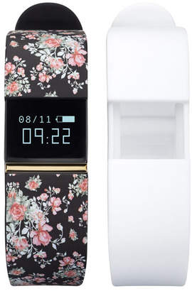 iFitness Activity Tracker with Black Floral Strap and Bonus White Strap