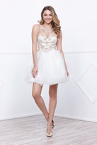 Nox Anabel Bead-Embellished Illusion Short Cocktail Dress with Sheer Keyhole Cutouts