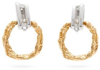 Chloé Crinkled Drop Hoop Earrings - Womens - Gold