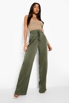 Thumbnail for your product : boohoo Satin Drawstring Luxe Wide Leg Jogger