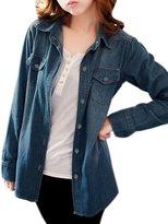 Allegra K Women's Rolled Sleeve Chest Flap Pockets Western Denim Shirt L