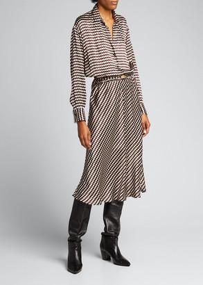 Kiton Zigzag Silk Collared Shirtdress w/ Cinched Waist