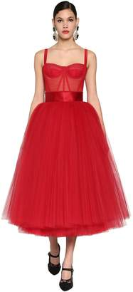 Dolce & Gabbana Corset Layered Tulle Midi Dress