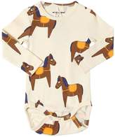 Mini Rodini Horses Print Cotton Jersey Bodysuit