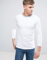 Asos Muscle Raglan Long Sleeve T-Shirt With Contrast Neck Trim In White/Gray Marl