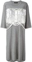 Zucca high shine applique T-shirt dress - women - Cotton - M