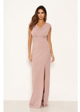 AX Paris Women's Wrap V-Neck Slit Maxi Dress