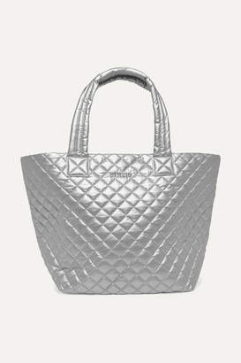 MZ Wallace Metro Medium Quilted Metallic Shell Tote - Silver