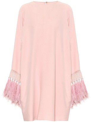 Valentino Feather-trimmed silk minidress