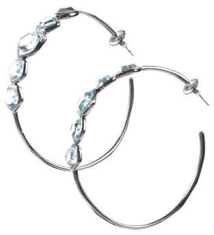 Ippolita Sterling Silver & Black Rhodium Blue Topaz & Diamond Embellished Hoop Earrings