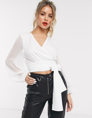 In The Style x Billie Faiers organza sleeve wrap top in white