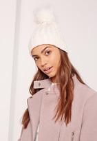 Missguided Metallic Knit Faux Fur Pom Pom Beanie Hat Cream