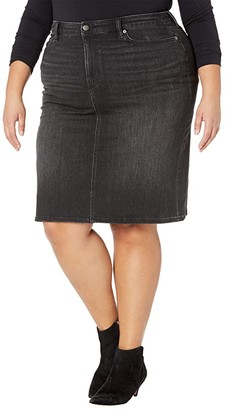 Lauren Ralph Lauren Plus Size Curvy Sculpt Denim Skirt (Skyline Black Wash) Women's Skirt
