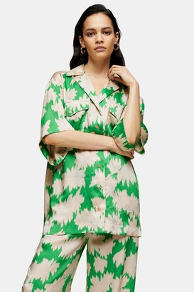 Topshop Womens **Green Floral Print Shirt By Green