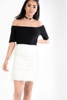 Glamorous Light Wash Asymmetric Denim Wrap Skirt With Frayed Edge