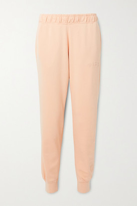 Nike Embroidered French Cotton-blend Terry Track Pants - Peach