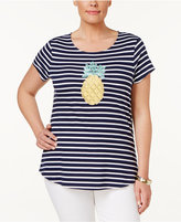 Charter Club Plus Size Striped Beaded Pineapple Top, Only at Macy's