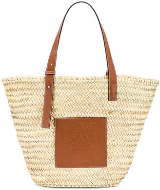Loewe Large Basket Bag in Natural & Tan | FWRD