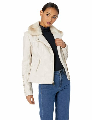GUESS Women's Leather Moto Jacket with Removeable Faux Fur Trim