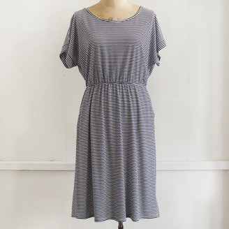 Miss Shorthair - Navy White Stripe Jersey Dress