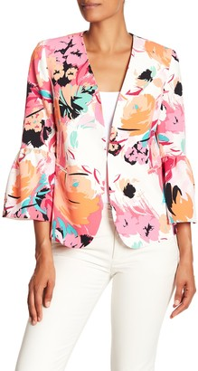 Nine West Printed Floral Ruffle Jacket
