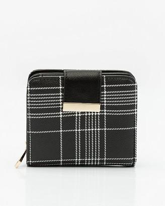 Le Château Check Print Faux Leather Snap Wallet